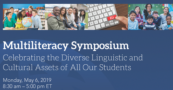 Banner for April is Multiliteracy Symposium