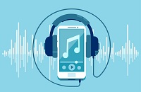 Podcast Graphic, mp3 player and headphones