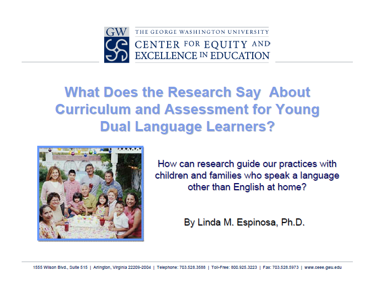 Curriculum and Assessment of ELLs Image