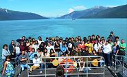 Class of Alaska Native children in a boat