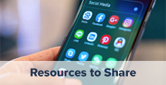 Resources to Share with a hand holding a mobile device with social media icons on the screen